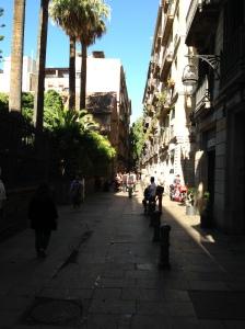 De straat van de boekenwinkel in de wijk El Raval