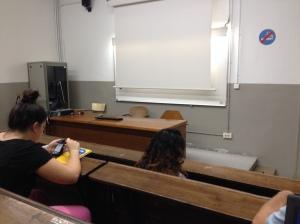 Voorbeeld van een leslokaal in het oude gebouw in de UB