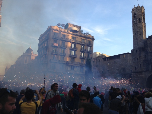 The correfoc during Fiesta de la Merced