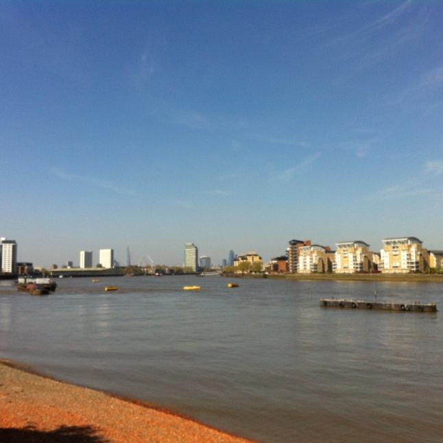 London Skyline vanaf de Greenwich Pier