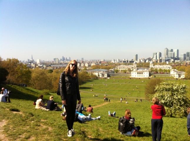 Op de heuvel met een uitzicht over Greenwich en Londen