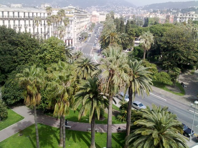 Uitzicht vanuit ons hotel in Nice